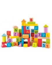 Дървен конструктор Woody - С цифри и букви