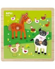 Дървен пъзел с дръжки Apli - Животни във фермата