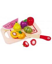 Игрален комплект Lelin - Дървени плодове за рязане, с дъска II -1