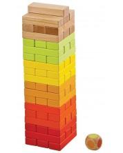 Дървена игра Lelin - Дженга, със зарче -1