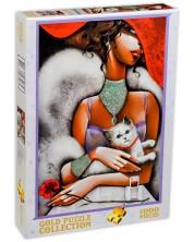 Пъзел Gold Puzzle от 1000 части - Дама с котка
