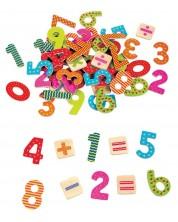 Игрален комплект Lelin - Дървени магнити, Цифри и знаци
