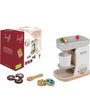 Дървена играчка Joueco - Кафе машина, с аксесоари -1