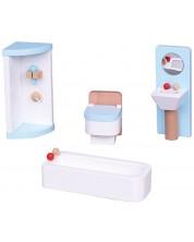 Комплект дървени мини мебели Lelin - Обзавеждане за баня, синьо -1