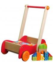Дървена играчка за бутане Lelin - Кола с конструктор, 30 части -1
