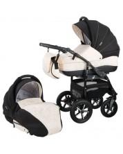 Детска количка 2 в 1 Baby Merc - Zipy, черно и бяло -1