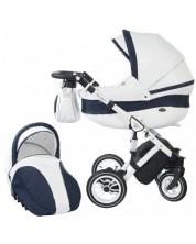 Детска количка 2 в 1 Baby Merc - Style, бяло и тъмносиньо -1