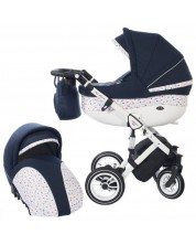 Детска количка 2 в 1 Baby Merc - Style, тъмносиньо и бяло -1