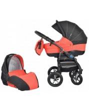 Детска количка 2 в 1 Baby Merc - Zipy, черно и червено -1