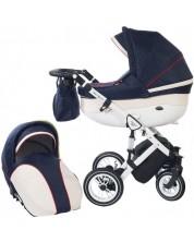 Детска количка 2 в 1 Baby Merc - Style, черно и бяло -1