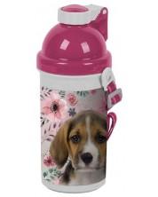 Детска бутилка за вода Paso Dog - 500 ml, розова