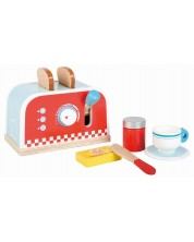 Игрален комплект Lelin - Детски тостер, с продукти за закуска, червен -1