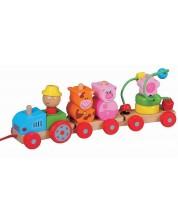 Дървена играчка за дърпане Lelin - Трактор -1