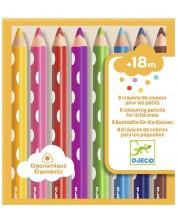 Комплект цветни моливи Djeco - 8 броя, За най-малките