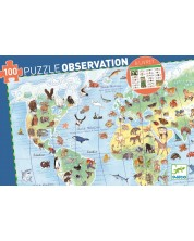 Пъзел за наблюдателност Djeco от 100 части - Животните по света, с книжка