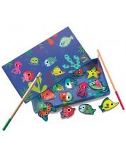 Детска игра с магнитни фигури Djeco - Цветен риболов -1