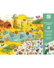 Комплект за декорация със стикери Djeco - Савана