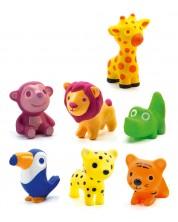Комплект гумени играчки-гризалки Djeco - Животни от саваната, 7 броя