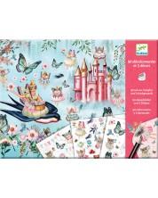 Комплект за декорация със стикери Djeco - Царството на феите