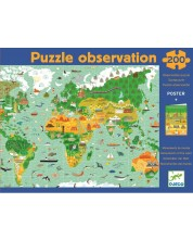 Пъзел за наблюдателност Djeco – Около света, 200 части + книга