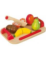 Дървен комплект Eichhorn - Дъска за рязане, с плодове