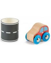 Игрален комплект Hape - Дървена количка с път на стикерна лента -1