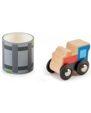 Игрален комплект Hape - Дървено влакче с релсов път на стикерна лента -1
