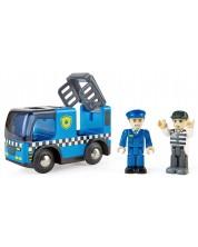 Дървена играчка Hape - Полицейска кола със сирени -1