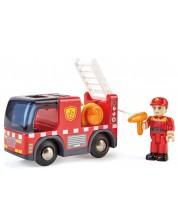 Дървена играчка Hape - Пожарна кола със сирени -1
