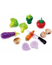 Комплект продукти за рязане Hape - Зеленчуци, 9 части, от дърво