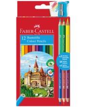 Цветни моливи Faber-Castell - Замък, 12+6 цвята, с острилка