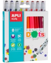 Комплект флумастери Apli - Точки, 8 цвята