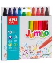 Комплект флумастери Apli - Джъмбо, 10 цвята