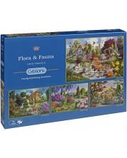 Пъзел Gibsons от 4 x 500 части - Флора и фауна, Джон Франсис