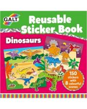 Книжка със стикери Galt - Динозаври, 150 стикера за многократна употреба