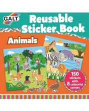 Книжка със стикери Galt - Животни, 150 стикера за многократна употреба -1
