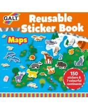 Книжка със стикери Galt - Животните по света, 150 стикера за многократна употреба -1