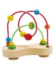 Детска игра Hape - Броеница с дървена основа, малка -1