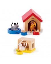 Комплект дървени мини мебели Hape - Къщички за домашни любимци -1