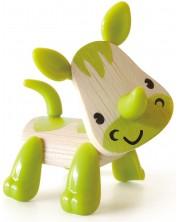 Детска играчка от бамбук Hape - Мини животинка Носорог -1