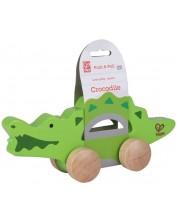 Дървена играчка на колела - Крокодил -1