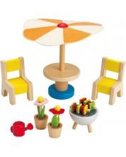 Комплект дървени мини мебели Hape - Вътрешен двор, 7 части -1