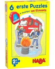 Детски пъзели Haba 6 в 1  - В действие, с дървена фигурка