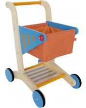 Дървена детска количка за пазаруване -1