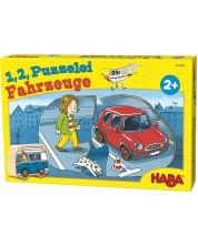 Детски пъзел Haba от 10 x 2 части  - Превозни средства, с дървена фигурка -1