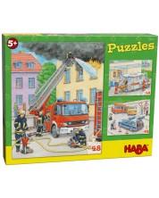 Детски пъзели Haba от 3 x 48 части - Професии -1