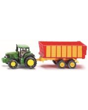 Метална количка Siku Agriculture - Трактор с ремарке John Deere, 1:50
