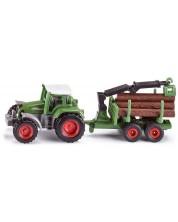 Метална играчка Siku Super - Трактор с ремарке за горското стопанство
