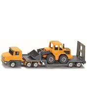 Метална играчка Siku - Камион с платформа и багер