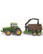 Метална количка Siku - Трактор John Deere с ремарке за дървени трупи, 1:50 -1